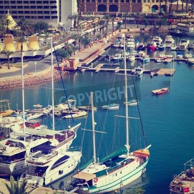 Obraz .Docked Yachts in Eilat, Israel.