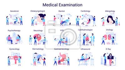 Obraz Doctor and medicine big set. Collection of medical examination