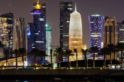 Obraz Doha skyline w nocy, Katar, Bliski Wschód