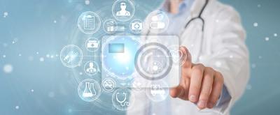 Obraz Doktorski używa cyfrowy medyczny futurystyczny interfejsu 3D rendering