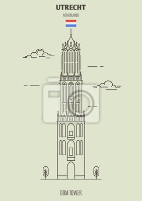 Dom Tower w Utrechcie, Holandia. Ikona punktu orientacyjnego