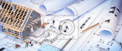 Obraz dom w budowie na plany - projekt budowlany