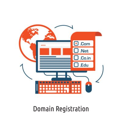 Domain icon symbol on top of the computer laptop vector graphic illustration