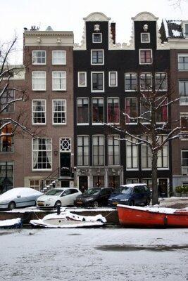 Obraz Domy Amsterdam zimą