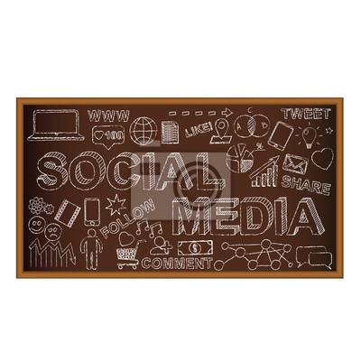 Doodle do tablicy kredowej z symbolami, social media ikony. Wektor