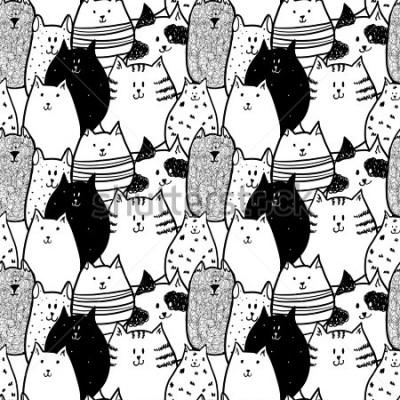 Obraz Doodle funny cats seamless pattern.