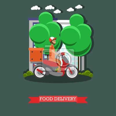 Dostawa żywności ilustracji wektorowych w stylu płaskim