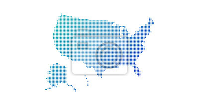 Obraz Dotted gradient USA map for backgrounds, brochures web. vector illustration isolated on white background.