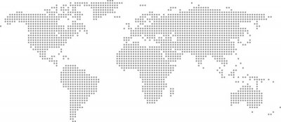 Obraz Dotted world map on white background. World map template with continents, North and South America, Europe and Asia, Africa and Australia