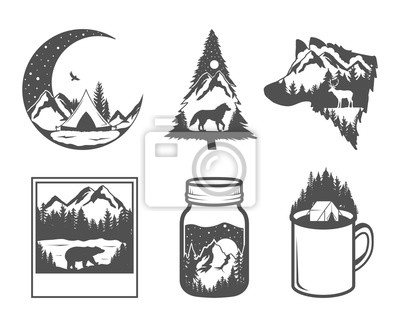 Obraz Double exposure. Wildlife concept. Hand drawn outdoor badges. Wild nature in black and white colors