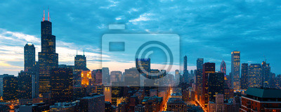Obraz Downtown chicago cityscape skyscrapers skyline at dawn