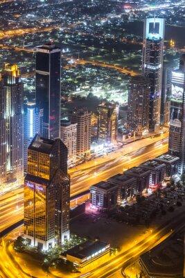 Obraz Downtown Dubai sceny nocne z lampkami miasta,