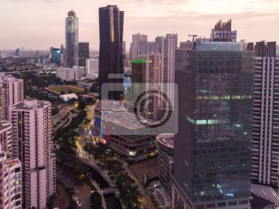 Dramatic sunset over the Jakarta business district of Kuningan