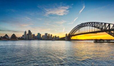 Obraz Dramatyczna panoramiczny zachód słońca zdjęcia Sydney Harbour