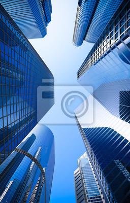 Obraz drapacz gród szkło niebieski ulica niski kąt strzału