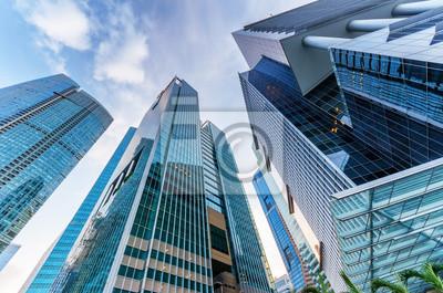 Drapacze chmur w dzielnicy finansowej w Singapurze