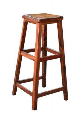 Drewniana prętowa stolec odizolowywająca na białym tle.