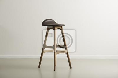 Drewniane krzesło barowe z formowanego skórzane siedzenie
