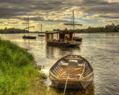 Obraz Drewniane łodzie na Dolinie Loary