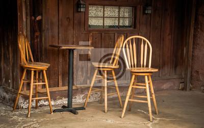 Drewniane stołki barowe i stół barowy Calico Ghost Town