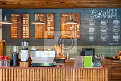 Obraz Drewniany bar kawowy; Licznik kawiarni