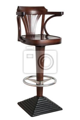 drewniany stołek barowy z podstawą żeliwną na białym tle