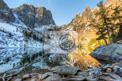 Driftwood i Emerald Lake Mountain Reflection