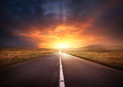 Obraz Drogi prowadzącej do Zachód Słońca