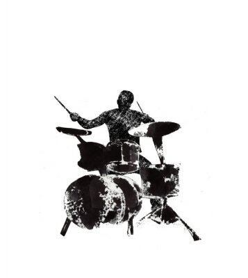 Obraz drummer behind the drum, musical instruments, black and white graphics, abstraction