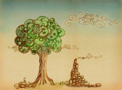 Obraz drzewa i ruiny