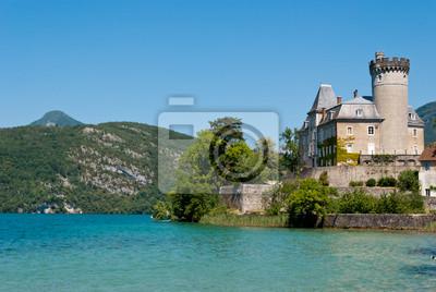 Duingt Zamek, Jezioro Annecy, Francja