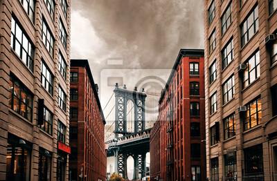 Obraz DUMBO Down pod mostem Manhattan, ulica Nowego Jorku