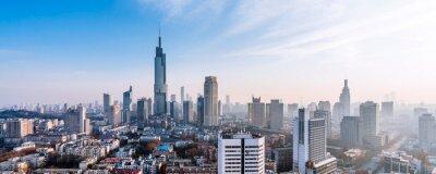 Obraz Dusk scenery of Zifeng Building and city skyline in Nanjing, Jiangsu, China