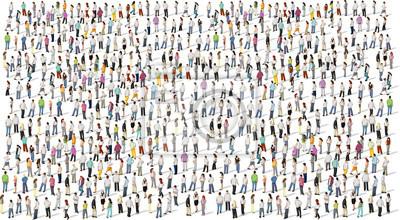 Obraz Duża grupa ludzi na białym tle
