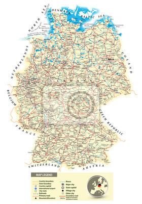 Duża mapa szczegółowa droga Niemiec