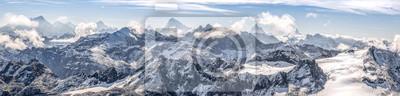 Obraz duża panorama sur ny chaîne de montagne enneigées des Alpes suisses