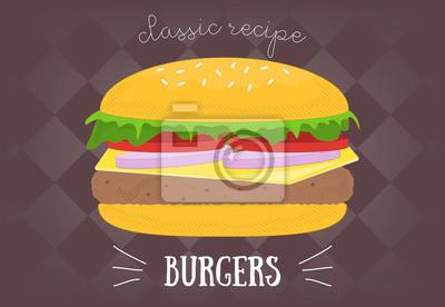 Duży burger na czarno. Ilustracji wektorowych.