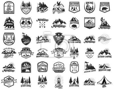 Obraz Duży zestaw camping, turystyka, godła turystyki. Element projektu godło, znak, etykieta, plakat.