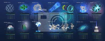Duży zestaw futurystycznych elementów 3D w stylu HUD. Abstrakta astronautyczny extraterrestrial vektory tło.