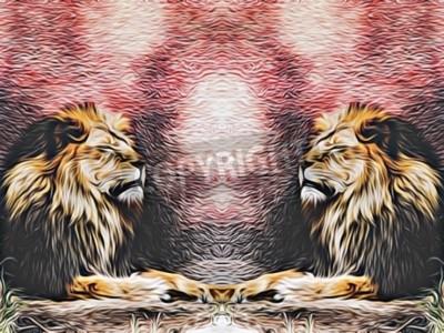 Obraz dwa lwy z czerwonym i czarnym tle