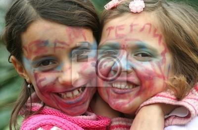 Obraz Dwa Piękne Młode Dziewczyny Z Twarze Pomalowane Na Karnawał