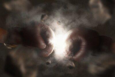 Obraz Dwie stare rękawice bokserskie hit razem brązowy