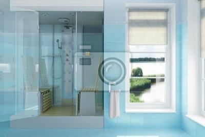 Obraz Dwuosobowy Prysznic W Kolorze Jasnoniebieskim Na Wymiar