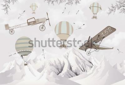 Obraz Dwupłatowiec i balony na ogrzane powietrze tapeta do pokoju dziecięcego