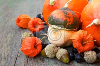 Obraz dyni, orzechy, agrest peleryna. upraw jesień