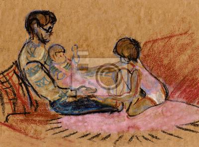 Obraz Dziadek z dwóch wnuczek