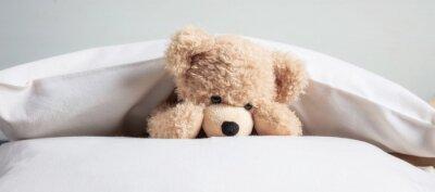 Obraz Dzieci przed snem. Śliczny miś pluszowy bawić się z poduszkami w łóżku, sztandar