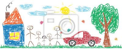 Obraz Dzieci rysunek wesoła rodzina, dom, drzewo, samochód, słońce. Ilustracja kolorowy na białym tle wektor