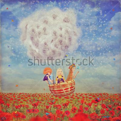 Obraz Dzieci w balony nad pięknym krajobrazem z maczkami przecinającymi niebu z chmurami, ilustracyjna sztuka