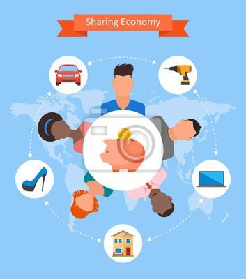 Dzielenie się gospodarka i koncepcja zużycie inteligentne. Ilustracja wektora w stylu płaskiej.